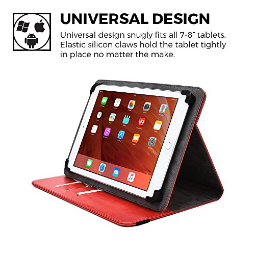 Micromax Canvas Tab P650E/P666/P690 case, COOPER DIPLOMAT Travel Carrying Portfolio Luxury Tablet Case Protective Cover PU Leather Folio with 360 Rotating Stand & Pockets (Red)