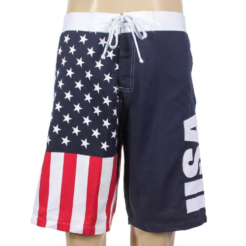 USA American Flag Mens Swim Boardshorts (Adult Small) - Adult Short