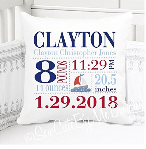 - Birth Announcement Pillow for Baby Boys Sailboat Nursery - Includes Personalized Pillowcase and Pillow Insert 14