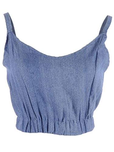 Anna-Kaci S/M Fit Chambray Blue Pintuck Detail Crop Waist Scoop Neckline Top