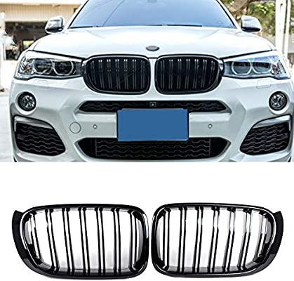 Soyeah Front Replacement Kidney Grille Grill Compatible For Bmw X3 Series F25 Facelift 2014 2017 X4 Series F26 Abs Glossy Black