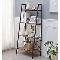 Blissun 4 Tiers Ladder Shelf, Vintage Bo...