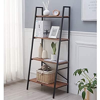 Blissun 4 Tiers Ladder Shelf, Vintage Bookshelf, Storage Rack Shelf for Office, Bathroom, Living Room - ★【EASY TO ASSEMBLE&CLEAN】Shelf ladder bookcase comes with detailed and illustrated instructions and numbered parts; all fittings and tools required for assembly are included for a worry-free assembly. As the shelf won't get dirty easily, it is very easy for you to maintain it. And just use a wet cloth to clean the water-proof shelf when it is dirty. ★【MULTIPLE USAGE】The ladder rack can be used as plant stand, bookcase, bathroom cabinet, storage organizer in your living room, bedroom, kitchen, balcony, office, corridor or any other space. Matte black frame combined with vintage shelving, this ladder shelf is sophisticated and stylish, matches well with your home. ★【SUPERIOR CONSTRUCTION】Sturdy metal for the frame and durable chipboard for shelving; reinforced by crossbar on the Back; High-quality materials and design bring you a really solid and durable bookshelf. 4 protective caps on the bottom to ensure wooden ladder shelf stands stably while protecting your floor from scratches. - living-room-furniture, living-room, bookcases-bookshelves - 51PAzGSgHaL. SS400  -