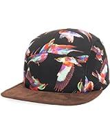 GP Accessories Mens Womens Bird Print Faux Leather Visor 5 Panel Hat