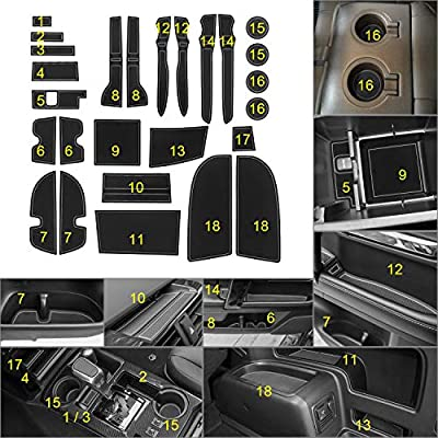 SENSHINE Cup, Door, Console Liner Accessories Kit Compatible with Toyota 4Runner 2020 2020 2020 2020-2010(2 Row, Gray Trim)-27PC Set: Automotive