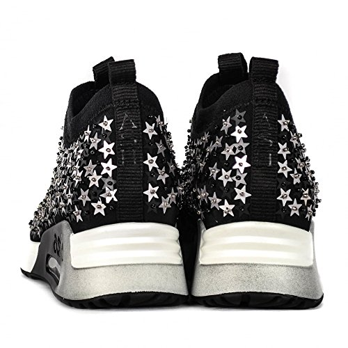 Trainers Embellished Lighting Silver Black Star Black Neoprene Ash amp; Silver Sequins wRqptTgAx