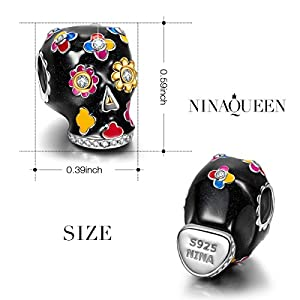 """NinaQueen""""Skull and Rose"""" 925 Sterling Silver Sunflower Charms Multicolor Enamel Charm Beads, Best Halloween Gifts for Women"""