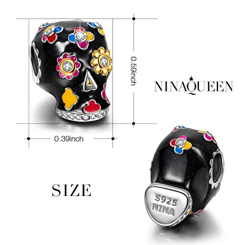 "NinaQueen""Skull and Rose"" 925 Sterling Silver Charms Sunflower Charm Multicolor Enamel, Best Halloween Gifts for Her Women"