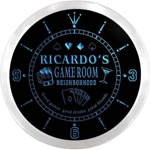 (ncx0190-tm Ricardo's Poker Game Room Custom Name Neon Sign Clock)