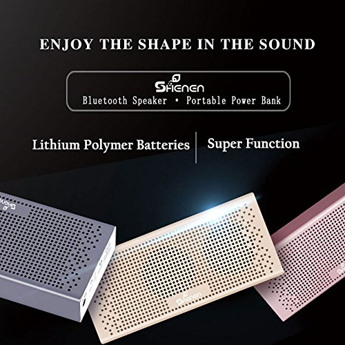 Bluetooth Speakers,SHENEN Portable Wireless Bluetooth Speaker with Built-in 4000mAh Power Bank and Enhanced Bass,20Hrs Battery Life,V4.2 with Microphone for All Bluetooth Devices (Luxury gold) by SHENEN (Image #2)
