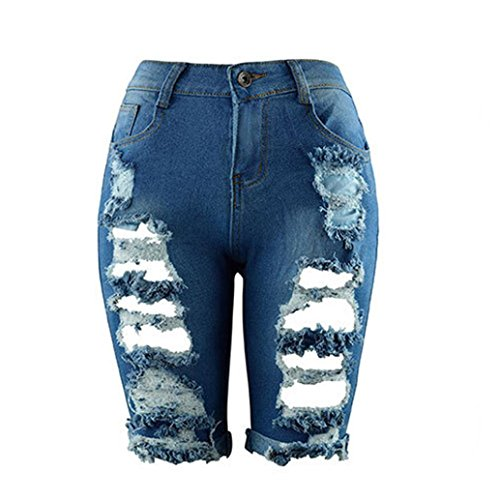 Rambling Fashion Womens Distressed Denim Capri Shorts High Waisted Ripped Destroyed Bermuda Jeans (Blue A, XXL) ()