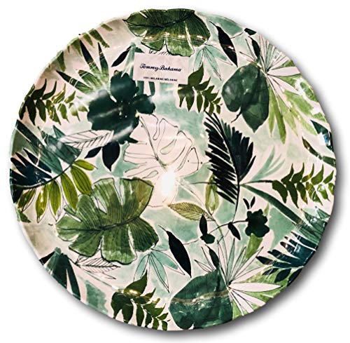 - Tommy Bahama Tropical Leaves Round Melamine Serving Platter