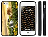Rikki Knight™ Water Straw Hat in Field Design iPhone 5 & 5s Case Cover (Black Rubber with bumper protection) for Apple iPhone 5 & 5s