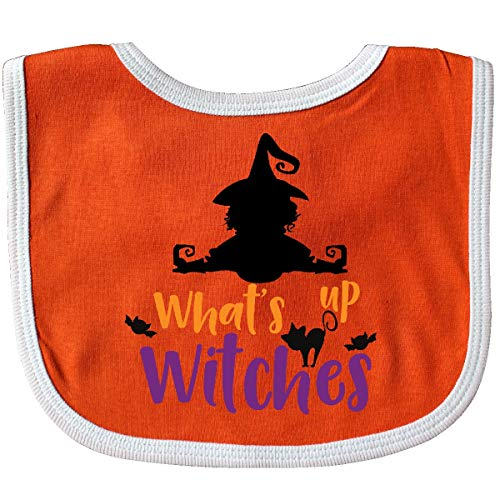 (Inktastic - What's Up Witches, Witch, Bats, Cat Baby Bib Orange/White)