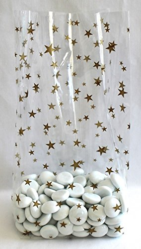 Gold Stars Cello Bags 4'' x 2 1/2'' x 9 1/2'' - Pack of 25 by Magical Times 808