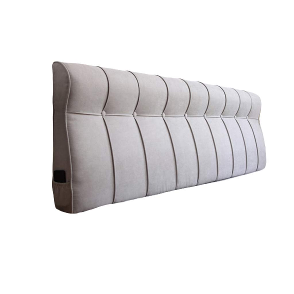 BZXLKD01 Headboard Cushion Cotton and Linen Upholstered Headboard Wedge Cushion, Sofa Bed Pillow Cushion Bed Rest Reading Pillow Backrest Positioning Support (Color : Light Gray, Size : 120cm/47in) by BZXLKD01