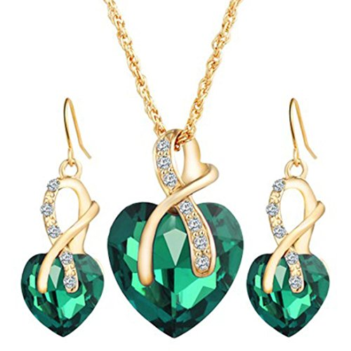 Sinfu® Necklace Earrings For 2018 Fashion Jewelry Sets For Women Crystal Heart Necklace Earrings Wedding Accessories Pendant Jewelry Accessories Collectors Gift (Length:44 cm +5cm, Green)