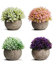 HBlife Artificial Plants Potted Faux Fake Mini Plant Greenery Green Grass Flower in Gray Pot for Bathroom Home House Decor