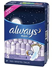 Always Maxi Pads for Women, Size 5 Extra Heavy Overnight Pads With Wings Unscented, 27 Count