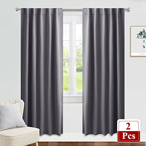 PONY DANCE Decorative Blackout Curtains - Gray Window Treatments Blinds Thermal Insulated Drapes Light Blocking Panels Home Decoration for Living Room, 42 W x 84 L, Grey, 1 Pair