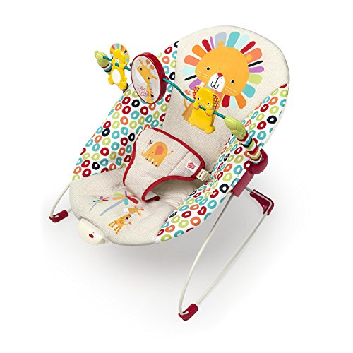 Bright Starts Playful Pinwheels Interactive Baby Bouncer with Soothing Vibration to Calm Baby