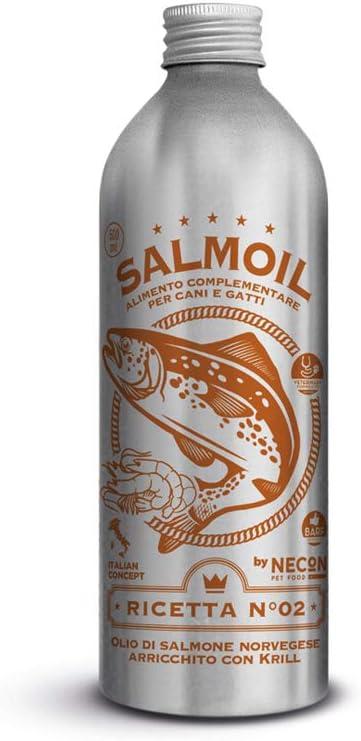 SALMOIL by NECON PET FOOD Receta 2, alimento complementario / alimento para perros y gatos a base de aceite de salmón noruego y krill 500ml, rico en vitamina E, Omega3, sin conservantes, Made in Italy