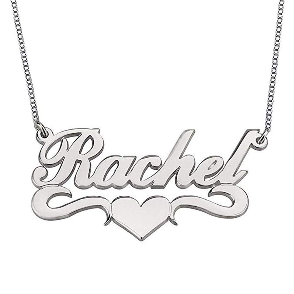Meеt U Personalized Name Necklace Custom Name Plate Love Heart Necklace Gift Valentines Gift
