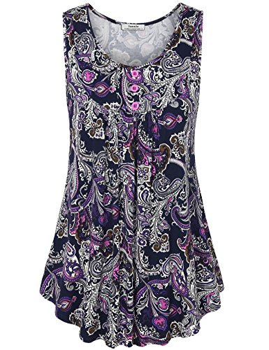 (Youtalia Women Tank Tops, Juniors Summer Sleeveless Scoop Neck Shirts Pleated A Line Tunic Blouses Purple Medium)