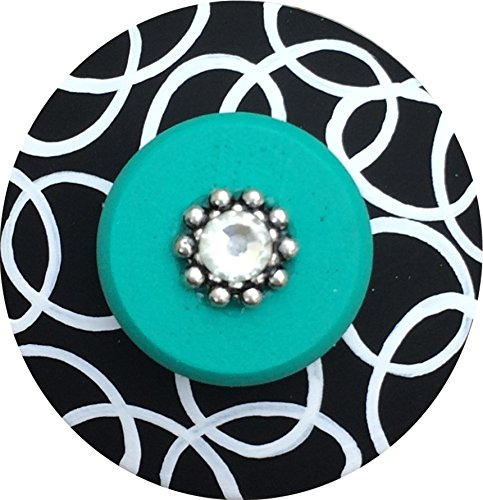 Hand Painted Jeweled Black White & Teal Green Circle Links Decorative Dresser Furniture Kids Childrens Nursery Room Art Decor Wood Drawer Knobs Pulls - Furniture Link
