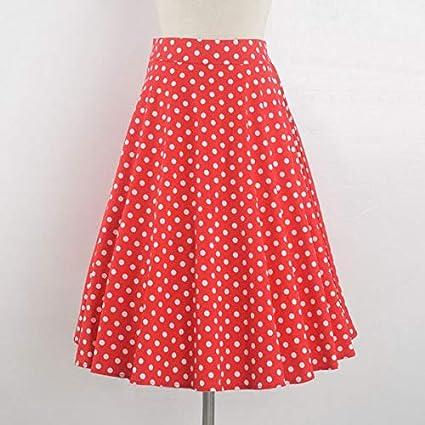 HEHEAB Falda,Puntos Blancos Print Rojo Vintage Plus Size Swing ...