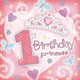 "36 serviettes de table en papier rose Princess Tiara 1er anniversaire fille ""1st Birthday"""