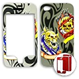 Apple iPhone 4 - 4S (AT&T/Verizon/Sprint) 3D Embossed Two Skulls on Grey iPhone 4 Hard Case/Cover/Faceplate/Snap On/Housing/Protector
