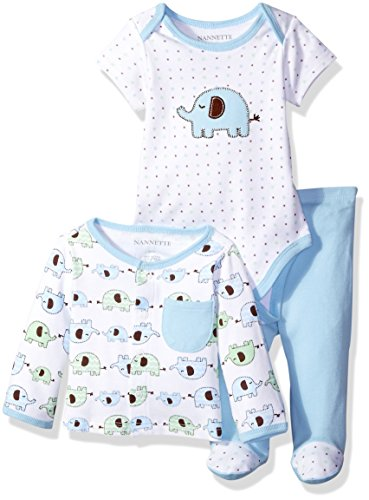 Nannette Boys' 3 Piece Cardigan Set with Creeper and Pant, Elephants, 0-3 Months