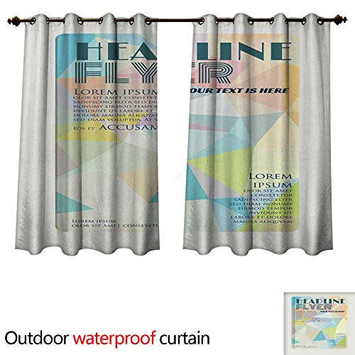 0utdoor Curtains for Patio Waterproof Abstract Geometric brochure Template Map Flyer Layout Flat St W72 x L63(183cm x 160cm)