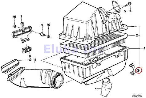 4 x BMW Genuine Air Mass Sensor Clip Air Filter Housing To Air Mass Sensor 528e 318i 318is 325e 325i 325ix 750iL 525i 318i 318is 318ti 320i 323i 325i 325is 328i M3 M3 3.2 525i 528i 530i 540i 540iP M5 320i 323Ci 323i 325Ci 325i 325xi 328Ci 328i 330Ci 330i