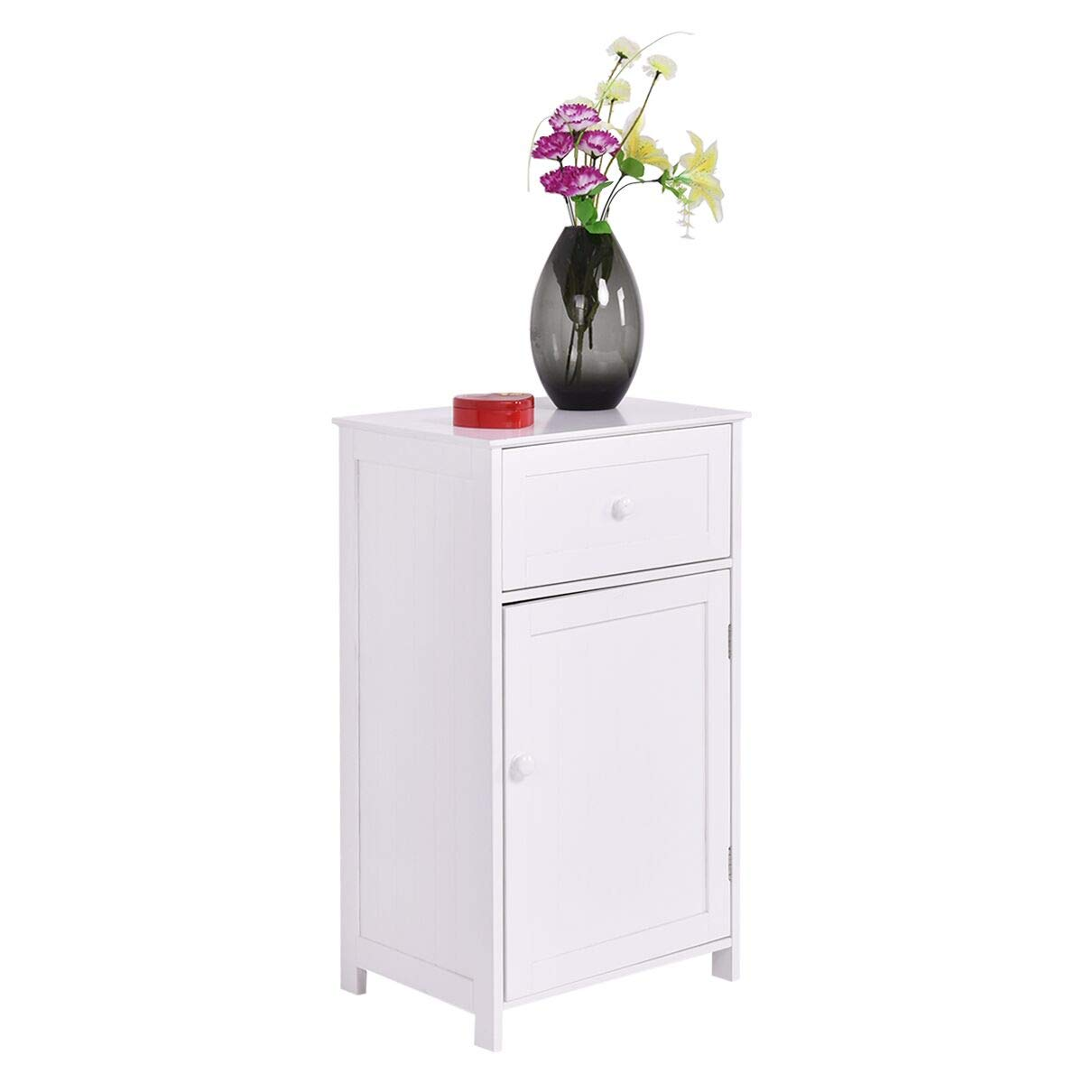 "Tangkula Bathroom Floor Storage Cabinet, Home Living Room Bedroom Sturdy Wooden Modern Side Cabinet Organizer, Storage Cabinet Furniture (30"" with Door & Drawer)"