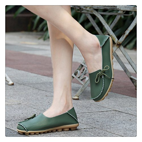 Womens Loafers Leather Green For Always Army Casual Boat Pretty Driving Shoes Footwear Mother Woman XxfqHq56