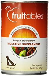 Fruitables Pumpkin Dog Digestive Supplement, with vitamin, fiber and ginger fortified, 15-Ounce Can