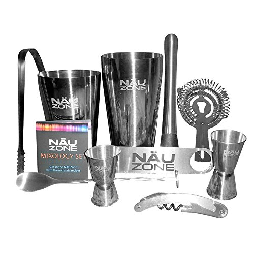 NÄUZone Boston Shaker Barware Set with Bar Kit Supplies and Bar Tools for Professional Drink Mixing
