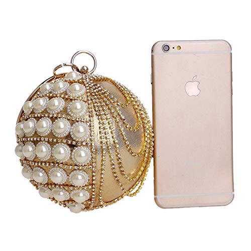 Sac Balle Main Soirée Blue Gland Poignet Clutch Perle Mariage Sac De à Sac Fête Bal Femmes Diamant Ronde Pochette ZwA8g1d1q