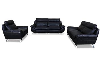 Sofa Couch Editions Leder Garnitur 3 2 1 Z943 Schwarz Mit