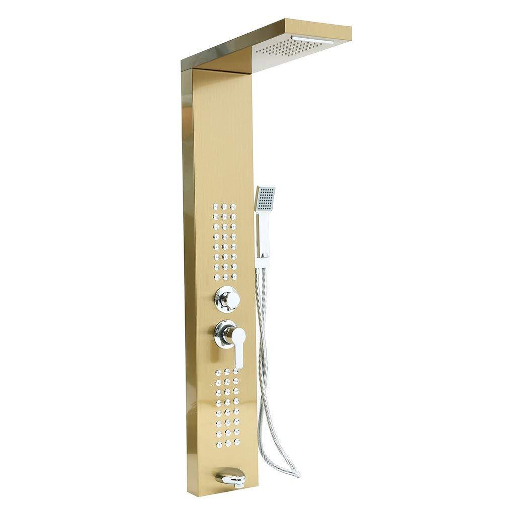Colonne de douche en acier inoxydable avec buses de massage en cascade mat brossé Binghotfire