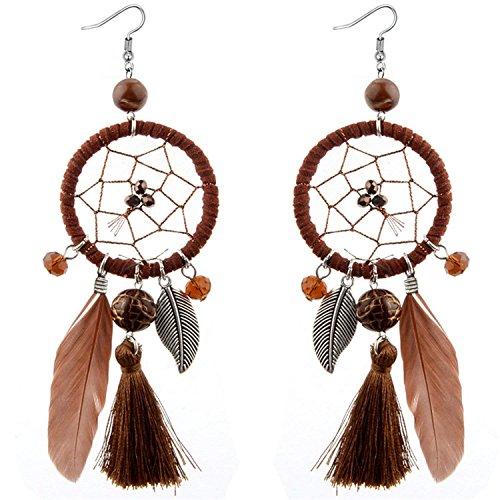 LeNG Fashion Ethnic Wind Wedding Jewelry Bohemian Crystal Beads Leaf Dream Catcher Cotton Tassel Earrings For Women,black by LeNG Earrings (Image #4)