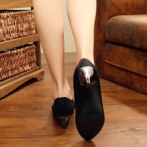 Main Brodé Femme Talon Chaussures La À black De Cuir Chaussures Unique KHSKX De En Daim Svelte Brodé 65BIqYFW