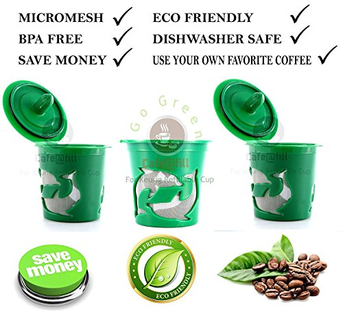 Three Count Premium Cafefill Keurig Reusable Refillable Coffee Filter Pod Stainless Steel Micro Mesh/ Screen (Ecobrew Refillable K Cup)