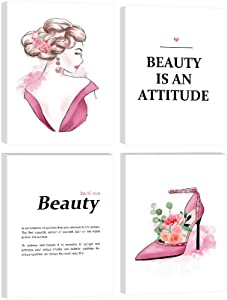 Fashion Wall Art Painting 4 Panels Framed Canvas Beautiful Women Wall Decor Abstract Women Poster Beauty Quotes and Sayings High Heels Dorm Decor for College Girls Teen Home Decor Picture.-12''x16''x4