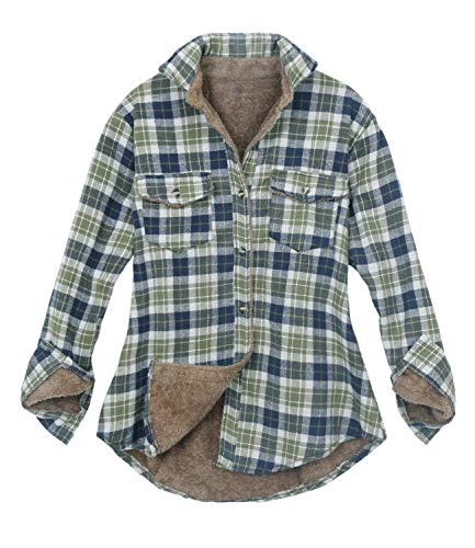 ililily Women Plaid Buffalo Checkered Sherpa Lined Flannel Shirt Trucker Jacket (Medium, Olive Green) -