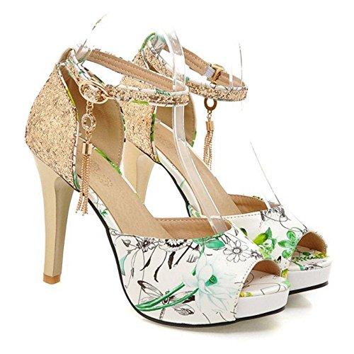 Coolcept Women Fashion Ankle Strap Sandals Stiletto Peep Toe Shoes Green rFyl4v