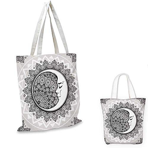 Mystic canvas laptop bag Ornate Crescent Moon with Stars and Mandala Asian Eastern Spiritual Graphic canvas tote bag with pockets Beige White Black. 12