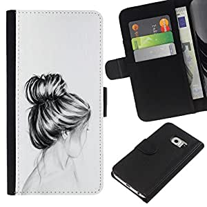 All Phone Most Case / Oferta Especial Cáscara Funda de cuero Monedero Cubierta de proteccion Caso / Wallet Case for Samsung Galaxy S6 EDGE // Bust Hair Head Pencil Drawing Sad